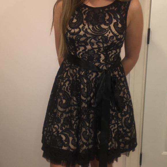 e17d2f847662 Black lace dress with nude slip underneath